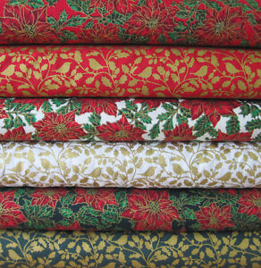 Christmas Cotton Fabric by Metre or Fat Quarters Festive Red Green Gold HOLLY