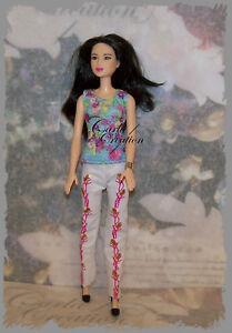 Ensemble-Poupee-Barbie-Mannequin-Pantalon-Blanc-Rose-et-Or-Brillant