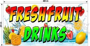 2-039-X-4-039-VINYL-BANNER-FRESH-FRUIT-DRINKS-WITH-PINEAPPLE-FULL-COLOR-DESIGN