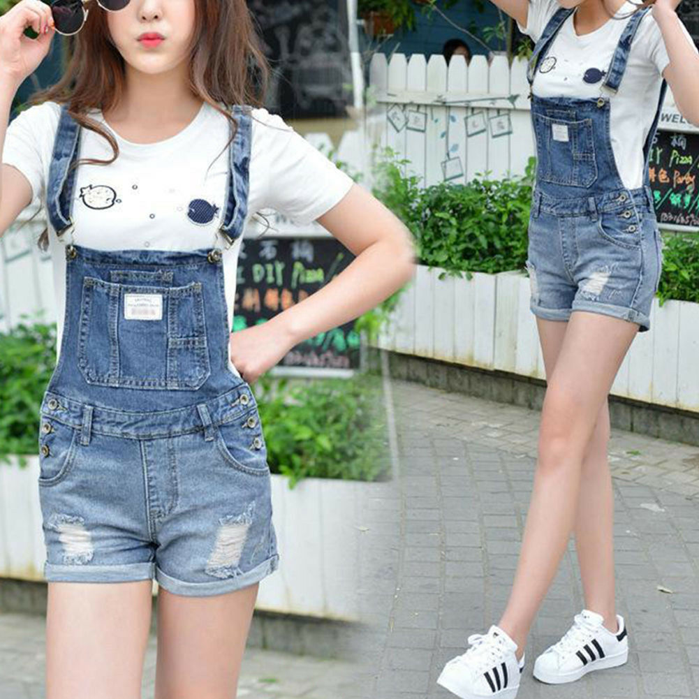 women girls denim strap holes shorts suspender overalls