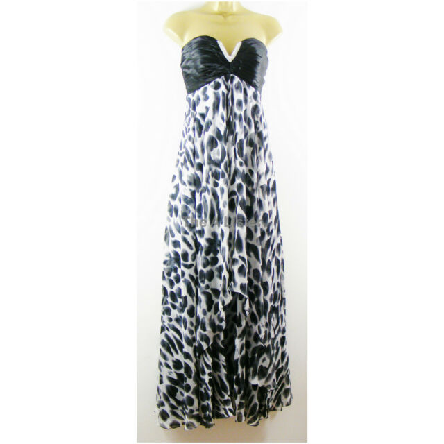 Black White Chiffon Maxi Prom Party Evening Dress Ball Gown Size 10 12 New £160