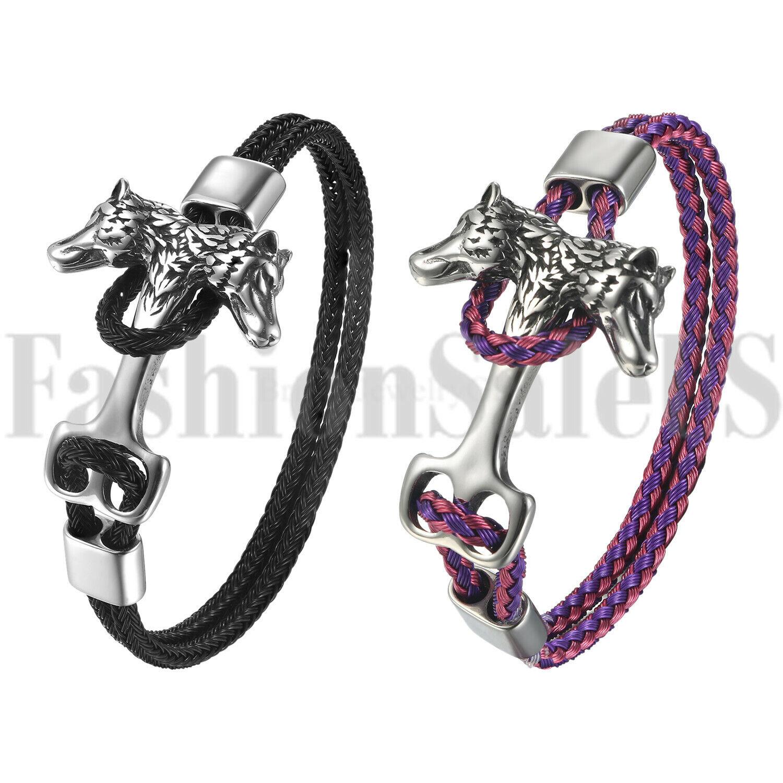 Viking Wolf Head Leather Bracelet