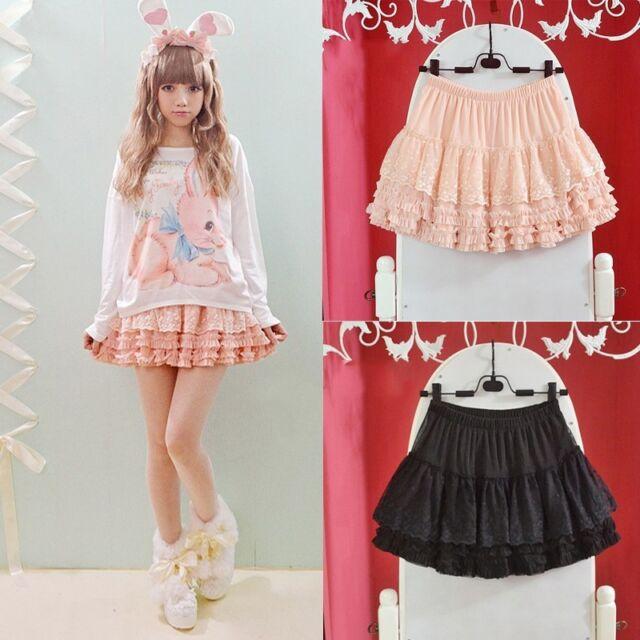 Sweet Girls Kawaii Classical Punk Goth Lolita Princess Lace Cake Mini Skirts
