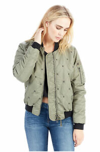 Religion Women's Quilted Padded Jacket True Bomber Chalk Green Studded Details About In Lq5c3AS4Rj