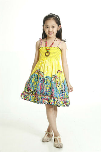 3-7 yrs w//FREE NECKLACE Girls Bohemian Sleeveless Summer Dress in 13 Styles
