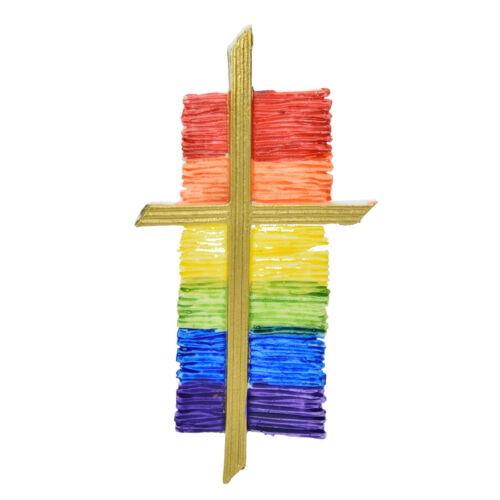 """velas diseñar EFCO Decoración cera /""""cruz pintado arco iris/"""" verzierwachs"""