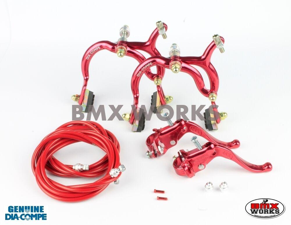 Dia-Compe MX890 - MX123  Red Brake Set - Old Vintage School BMX Style Brake  for sale