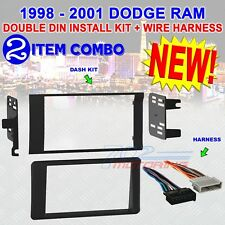 98 99 00 01 dodge ram car stereo radio double din installation dash kit  harness