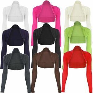 New-Womens-Ladies-Long-Sleeve-Plain-Bolero-Shrug-Cropped-Jersey-Top-Uk-8-26