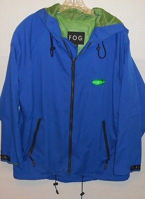 Vintage Fog By London Fog Hooded Nylon Mesh Blue Full Zip Jacket Men's Large