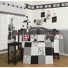 Geenny Black and White Flower Dots 13-piece Crib Bedding Set