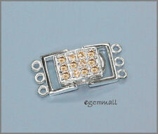 Sterling Silver 3-Strand Rectangle Push Clasp with Champagne CZ #51554