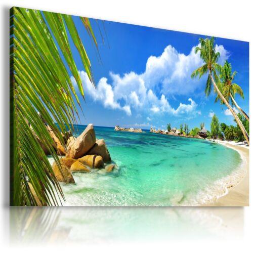 PARADISE BEACH SEA PERFECT PALMS View Canvas Wall Art Picture  L174  X  MATAGA .
