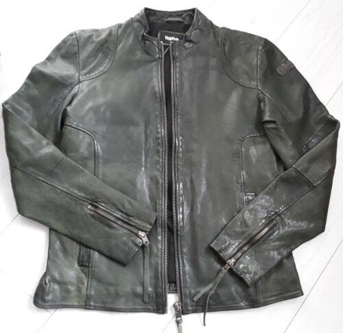 Tigha Herren Lederjacke Biker-Look   Keaton  Army grün Ziernähten Gr.L UVP 179€