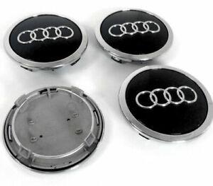 4x-69mm-Audi-negro-tapones-De-Centro-De-Rueda-HUB-Cubierta-8T0601170A