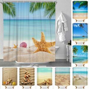 Beach-Shell-Print-Polyester-Waterproof-Bathroom-Curtain-Shower-Curtains-12-Hooks