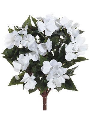"""6 Artificial 13.7/"""" New Guinea Impatiens Bush Silk Flower Plant Wedding Decor 633"""
