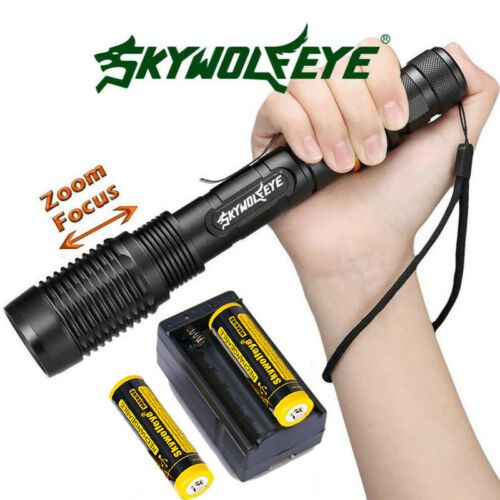Zoomable 350000Lumens 5-Mode High Power  LED Flashlight Torch 186*50 Charger