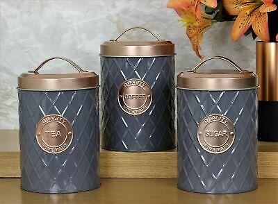 Set Of 3 Copper Grey Tea Coffee Sugar Canisters Tin Jars Pots Storage Kitchen