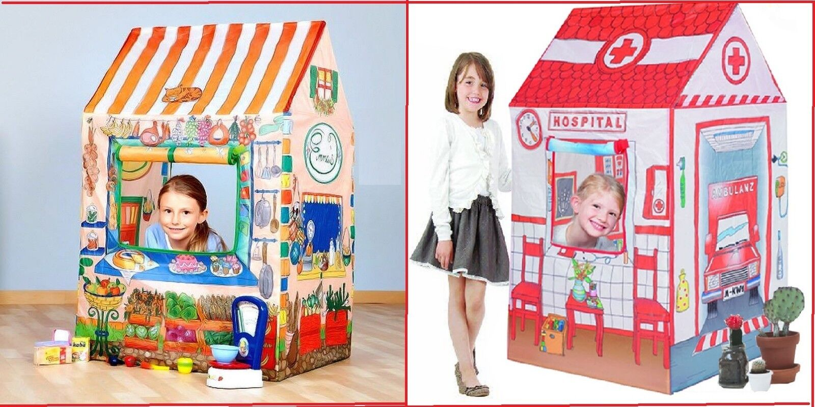 Kids Hospital Doctor   Mini Food Shop Play House Toy Fun Popup Tent Gift XMAS ES