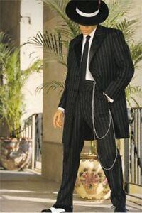men s striped zoot suit gangster long 3 4 frock black white tuxedo