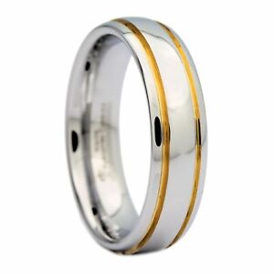 6mm-Polished-White-Tungsten-Carbide-Ring-2-Gold-Stripes-Wedding-Band