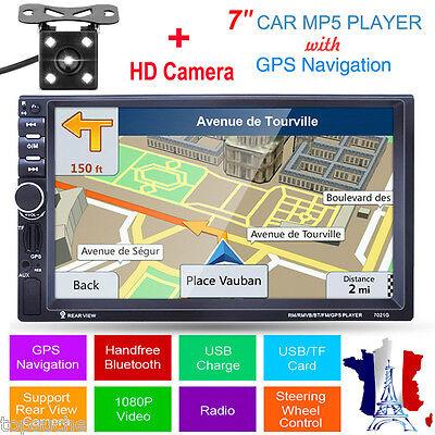 "Bluetooth 7"" Autoradio 2DINCar MP5 Player GPS Navigation FM Radio AUX-IN +Caméra"