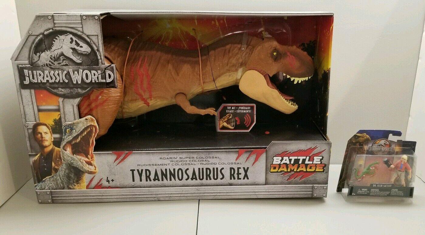 ELECTRONIC Roarin Super Colossal Tyrannosaurus Rex Damage + Jurassic SatlerNEW
