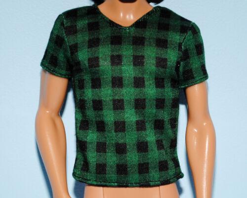 Green /& Black Checkered Short Sleeved KEN Shirt Top Genuine BARBIE Fashion