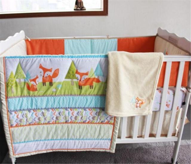 Newborn Cot Bedding Set 5pcs Crib Quilt Bumper Sheet Dust Ruffle Kid Lovely