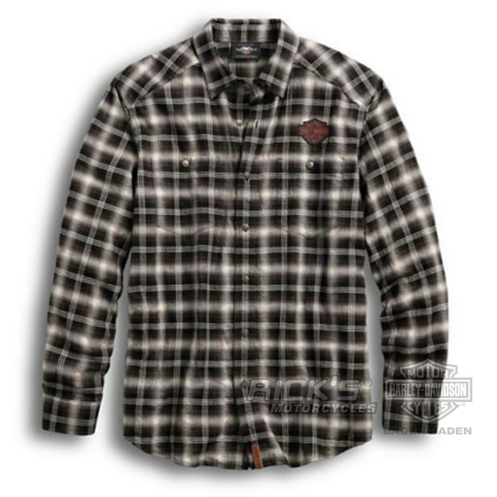 Orig. Harley Davidson Men's Leisure Shirt Herrringbone 96584-19VM