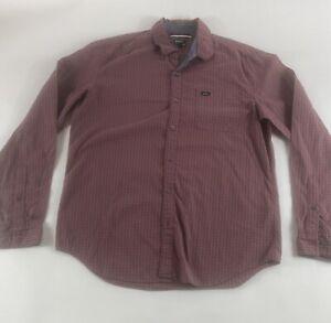 RVCA-Sz-M-Red-Plaid-L-S-Cotton-Blend-Button-Shirt