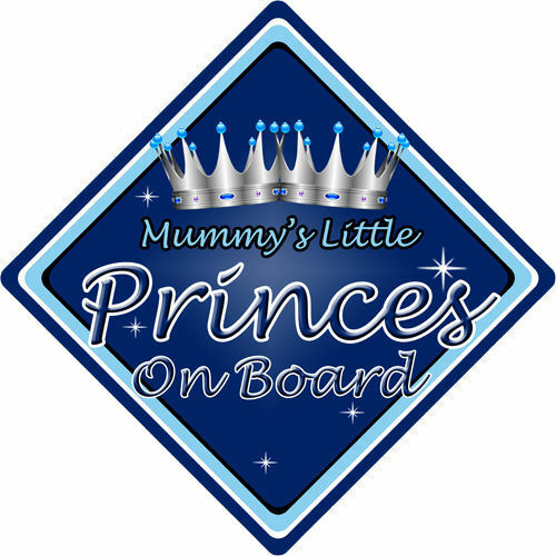 Non Personalised Child//Baby On Board Car Sign ~ Mummys Little Princes ~ D.Blue