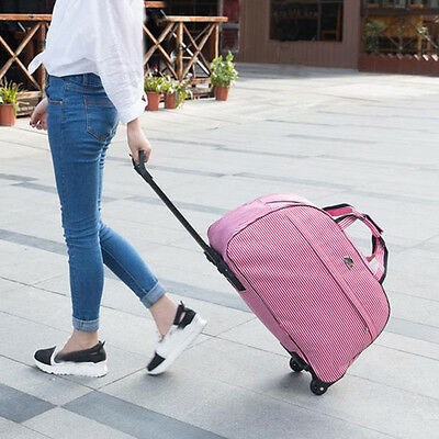 Luggage Rolling Duffel Bag Pink Travel Set Suitcase Trolley Carry on Wheels Kit