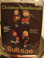 Vintage Sultana Christmas Needlecraft carolers Set Of 4 Jeweled Holiday Ornies