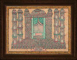 Image Is Loading Madhubani Folk Art Indian Painting Colorful Tajmahal 30x22