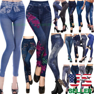 dd74a38d1bc Details about Women Trousers Leggings New Skinny High Waist Jeans Denim  Stretchy Pencil Pants