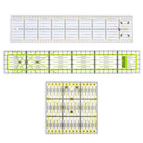 3 Größe 15x15cm, Transparentes Acryl Quilt-Lineal Patchworks-Lineal Set