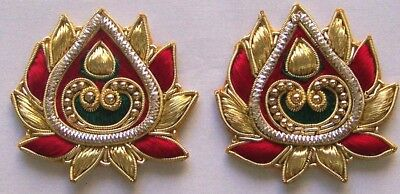 2 Hand-Embroidered Appliques. Metallic Bullion & Beads