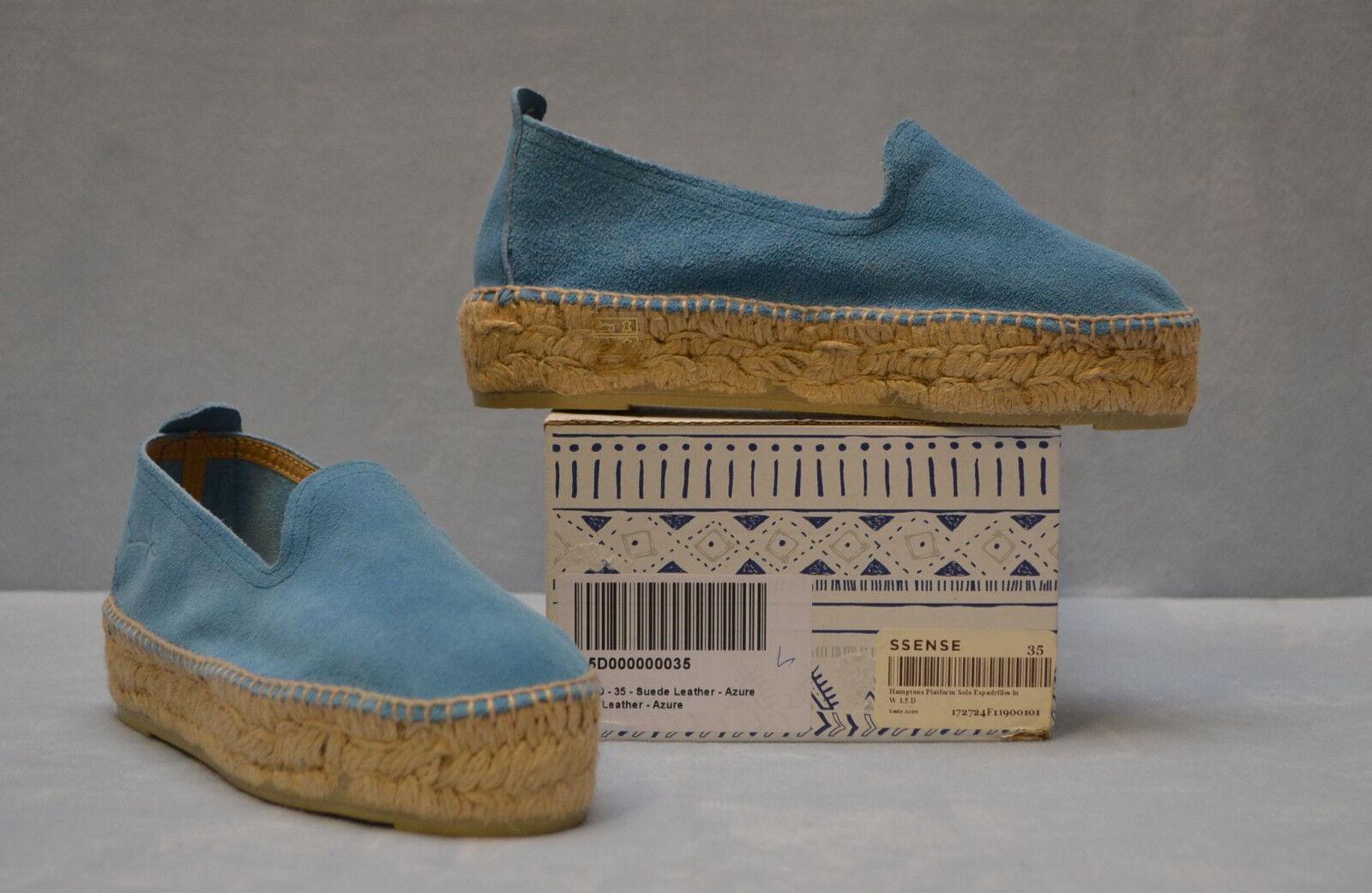 B0 NEW MANEBI Azure Suede Hamptons Platform Espadrille Flat chaussures Taille 35  125