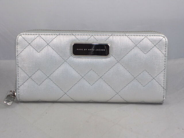 Marc by Marc Jacobs Metallic Silver SOPHISTICATO Quilted Zip Around Wallet $198