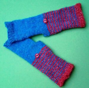 2004-Armstulpen-fingerlose-Handschuhe-blau-rot-fuer-schmale-Haende