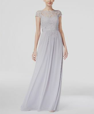 Saltar Conceder Doncella  $360 Adrianna Papell Women'S Gray Lace Cap-Sleeve Long Gown Formal Dress  Size 16   eBay