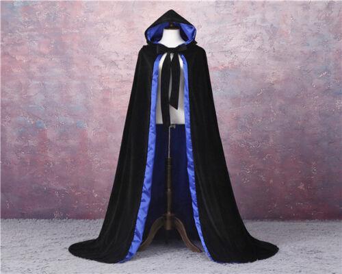 LINED GOTHIC CLOAK HALLOWEEN BLACK CAPE HOODED WICCA MEDIEVAL LARP NEW VELVET