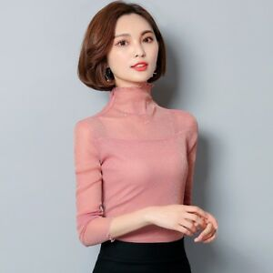 59042512b1a09f Lady Mesh Sheer Shiny T-Shirt Long Sleeve Turtle Neck Ruffle Collar ...