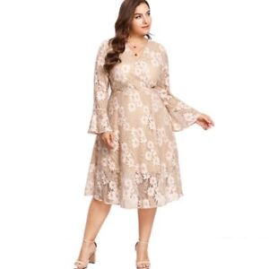 Details about Women Plus Size Lace Dress V Neck Flounce Sleeves Floral  Pattern Mid Calf Length