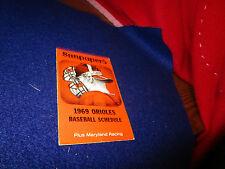 1969 Baltimore Orioles Sunpapers Baseball Pocket Schedule Tri-Fold
