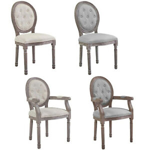 French-Dining-Chair-Louis-XVI-Style-Gray-Beige-Padded-Button-Tufted-Arm-Or-Side