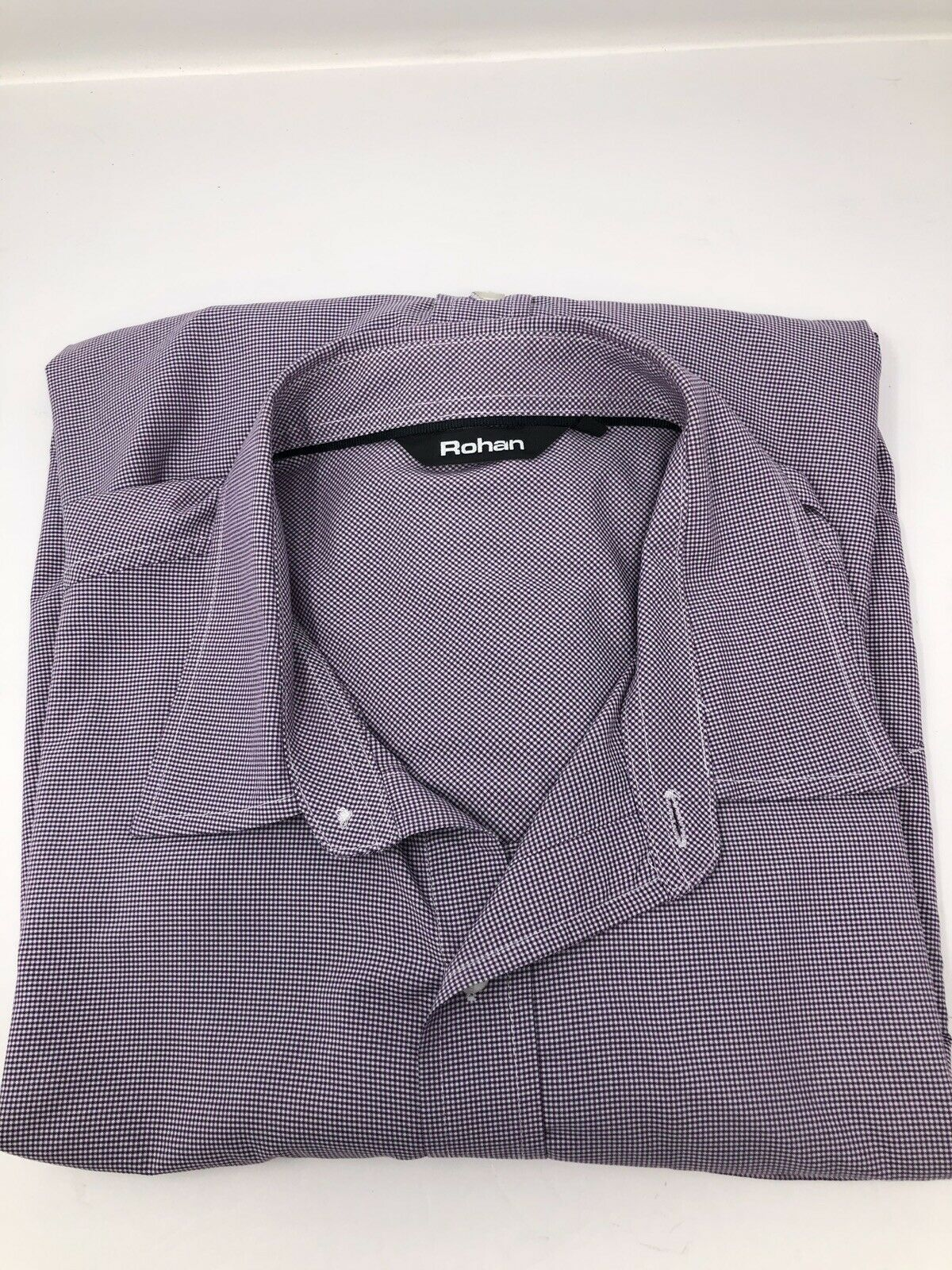 ROHAN DRESS SHIRT Größe LARGE New Without Tag lila Weiß Geometric