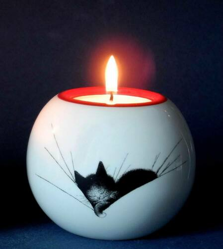 Cat Nap Black Cat Ceramic Tea Light Holder Candle Lamp Gift Round Dubout Cats